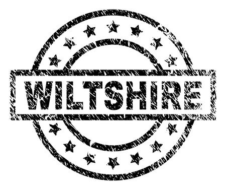 WILTSHIRE stamp seal watermark with distress style. Designed with rectangle, circles and stars. Black vector rubber print of WILTSHIRE tag with unclean texture.