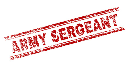 ARMY SERGEANT seal imprint with grunge style. Red vector rubber print of ARMY SERGEANT caption with grunge texture. Text caption is placed between double parallel lines.