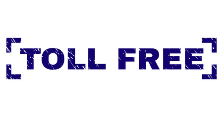 TOLL FREE caption seal watermark with grunge texture. Text caption is placed inside corners. Blue vector rubber print of TOLL FREE with unclean texture.