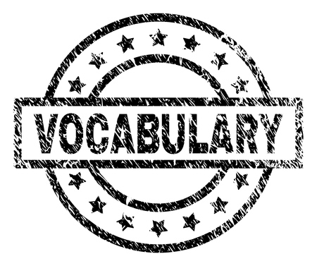 VOCABULARY stamp seal watermark with distress style. Designed with rectangle, circles and stars. Black vector rubber print of VOCABULARY text with retro texture.