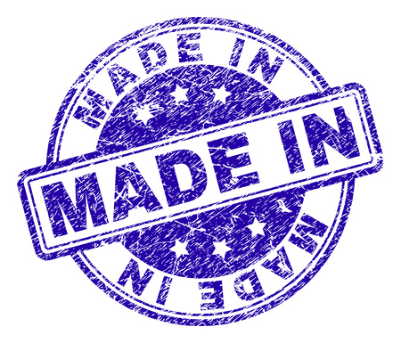 MADE IN stamp seal watermark with grunge texture. Designed with rounded rectangles and circles. Blue vector rubber print of MADE IN text with unclean texture.