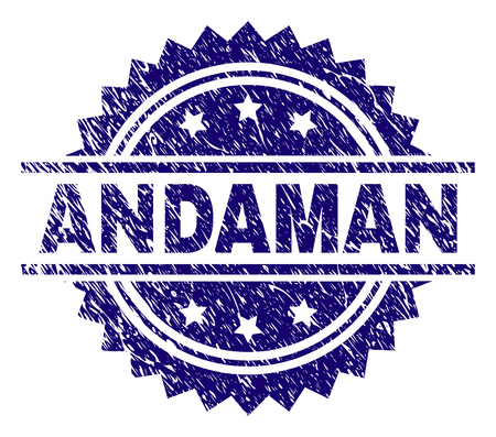 ANDAMAN stamp seal watermark with distress style. Blue vector rubber print of ANDAMAN label with retro texture.