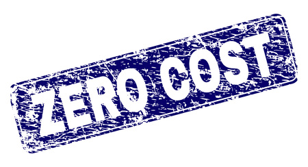 ZERO COST stamp seal print with distress style. Seal shape is a rounded rectangle with frame. Blue vector rubber print of ZERO COST label with unclean style.