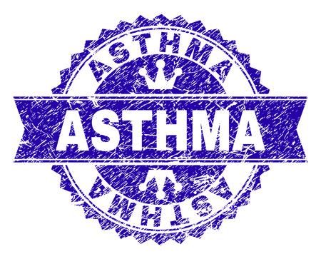 ASTHMA rosette seal watermark with grunge texture. Designed with round rosette, ribbon and small crowns. Blue vector rubber watermark of ASTHMA tag with dirty style. Illustration
