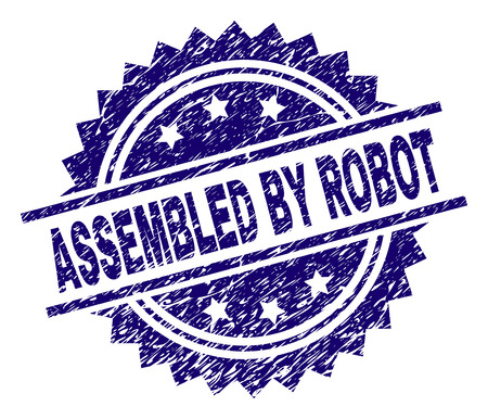 ASSEMBLED BY ROBOT stamp seal watermark with distress style. Blue vector rubber print of ASSEMBLED BY ROBOT title with dirty texture. Illustration