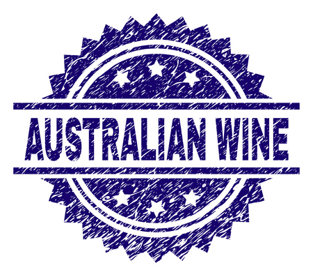 AUSTRALIAN WINE stamp seal watermark with distress style. Blue vector rubber print of AUSTRALIAN WINE tag with unclean texture.