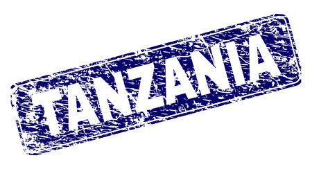TANZANIA stamp seal print with distress texture. Seal shape is a rounded rectangle with frame. Blue vector rubber print of TANZANIA tag with corroded texture. Ilustração