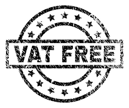 VAT FREE stamp seal watermark with distress style. Designed with rectangle, circles and stars. Black vector rubber print of VAT FREE tag with dirty texture. Illustration