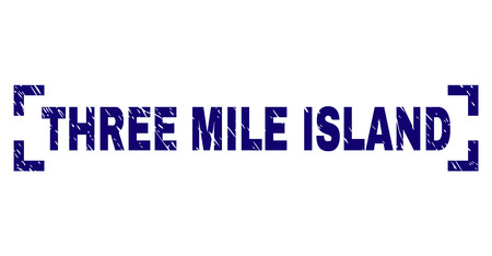 THREE MILE ISLAND caption seal print with corroded texture. Text caption is placed inside corners. Blue vector rubber print of THREE MILE ISLAND with unclean texture.