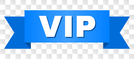 VIP text on a ribbon. Designed with white title and blue stripe. Vector banner with VIP tag on a transparent background.