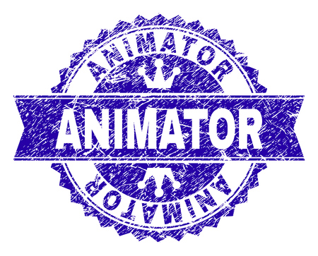 ANIMATOR rosette stamp seal imprint with distress texture. Designed with round rosette, ribbon and small crowns. Blue vector rubber watermark of ANIMATOR tag with dust texture. Illustration