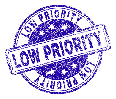 LOW PRIORITY stamp seal watermark with grunge texture. Designed with rounded rectangles and circles. Blue vector rubber print of LOW PRIORITY label with retro texture.