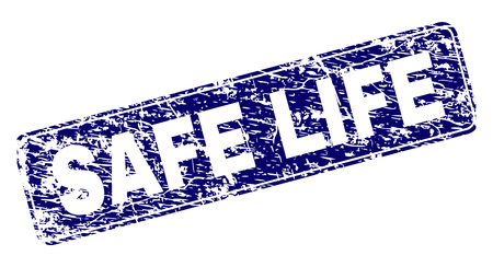 SAFE LIFE stamp seal print with grunge texture. Seal shape is a rounded rectangle with frame. Blue vector rubber print of SAFE LIFE text with grunge texture.