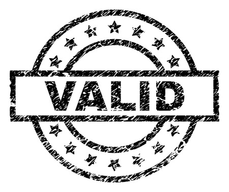 VALID stamp seal watermark with distress style. Designed with rectangle, circles and stars. Black vector rubber print of VALID tag with corroded texture.
