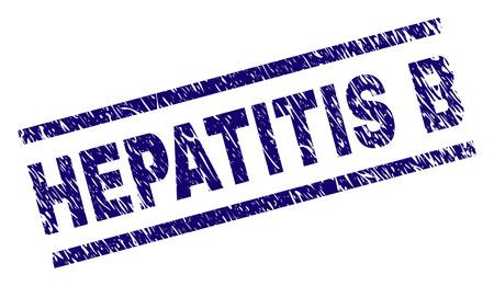 Impression de sceau HÉPATITE B avec style détresse. Impression en caoutchouc de vecteur bleu de l'étiquette HEPATITE B avec une texture sale. La balise de texte est placée entre des lignes parallèles.