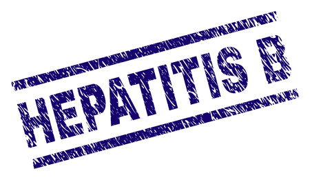 HEPATITIS B seal imprint with distress style. Blue vector rubber print of HEPATITIS B tag with dirty texture. Text tag is placed between parallel lines. Illustration