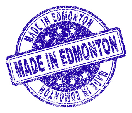 MADE IN EDMONTON stamp seal imprint with grunge effect. Designed with rounded rectangles and circles. Blue vector rubber print of MADE IN EDMONTON label with grunge texture.