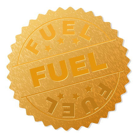 FUEL gold stamp badge. Vector golden medal with FUEL text. Text labels are placed between parallel lines and on circle. Golden skin has metallic texture.