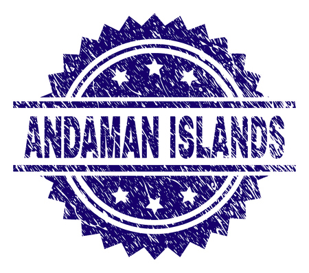 ANDAMAN ISLANDS stamp seal watermark with distress style. Blue vector rubber print of ANDAMAN ISLANDS label with retro texture.