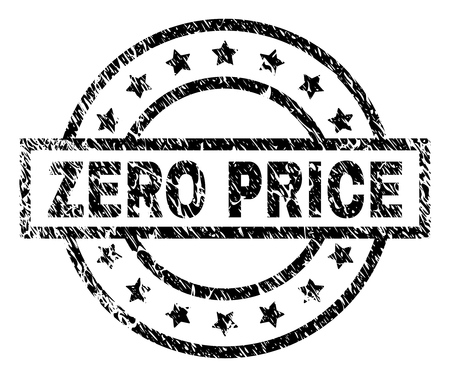 ZERO PRICE stamp seal watermark with distress style. Designed with rectangle, circles and stars. Black vector rubber print of ZERO PRICE label with unclean texture.