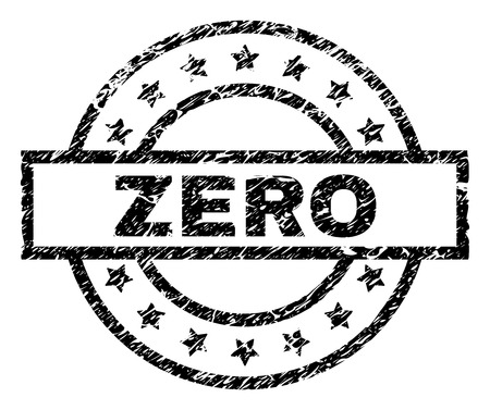 ZERO stamp seal watermark with distress style. Designed with rectangle, circles and stars. Black vector rubber print of ZERO title with dust texture.