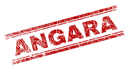 ANGARA seal print with grunge texture. Red vector rubber print of ANGARA text with grunge texture. Text caption is placed between double parallel lines.