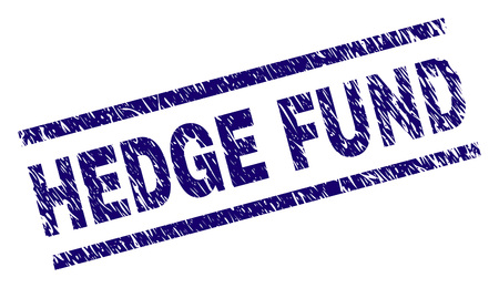 HEDGE FUND seal print with grunge style. Blue vector rubber print of HEDGE FUND text with retro texture. Text caption is placed between parallel lines.