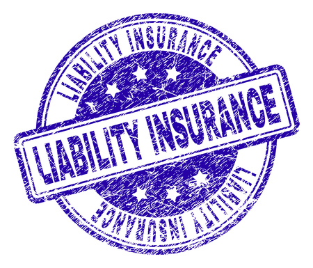LIABILITY INSURANCE stamp seal watermark with grunge texture. Designed with rounded rectangles and circles. Blue vector rubber print of LIABILITY INSURANCE text with unclean texture. Illustration