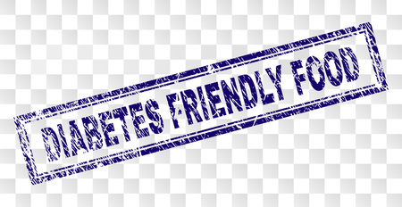 DIABETES FRIENDLY FOOD stamp seal watermark with rubber print style and double framed rectangle shape. Stamp is placed on a transparent background.