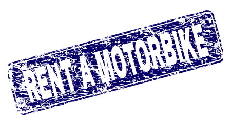 RENT A MOTORBIKE stamp seal print with distress texture. Seal shape is a rounded rectangle with frame. Blue vector rubber print of RENT A MOTORBIKE title with dust texture.