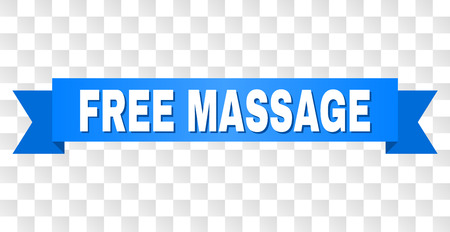 FREE MASSAGE text on a ribbon. Designed with white title and blue tape. Vector banner with FREE MASSAGE tag on a transparent background.