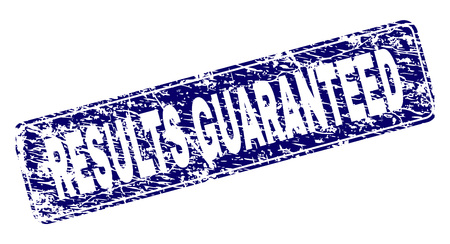RESULTS GUARANTEED stamp seal print with distress style. Seal shape is a rounded rectangle with frame. Blue vector rubber print of RESULTS GUARANTEED title with scratched style.