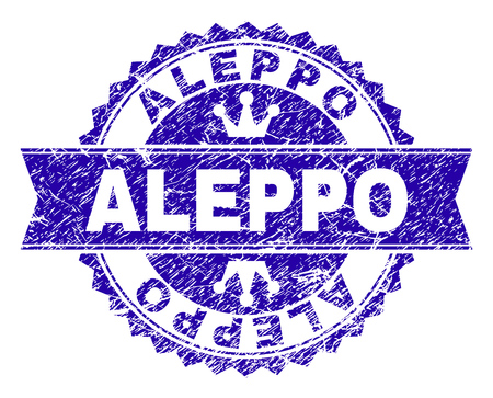 ALEPPO rosette stamp seal imprint with grunge style. Designed with round rosette, ribbon and small crowns. Blue vector rubber print of ALEPPO text with grunge style.