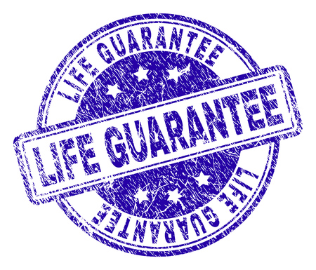 LIFE GUARANTEE stamp seal imprint with grunge texture. Designed with rounded rectangles and circles. Blue vector rubber print of LIFE GUARANTEE label with grunge texture. Illustration