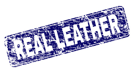 REAL LEATHER stamp seal print with grunge style. Seal shape is a rounded rectangle with frame. Blue vector rubber print of REAL LEATHER title with unclean style.