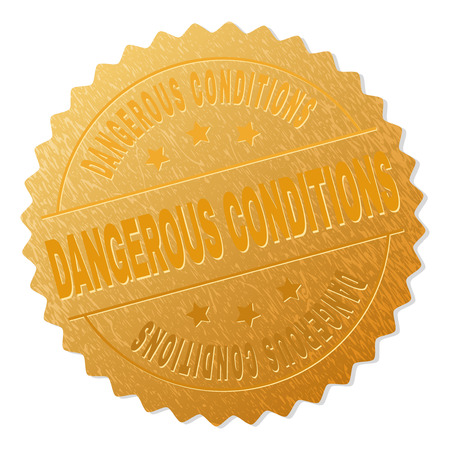 DANGEROUS CONDITIONS gold stamp award. Vector golden award with DANGEROUS CONDITIONS caption. Text labels are placed between parallel lines and on circle. Golden skin has metallic structure.