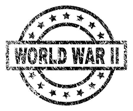 Filigrane de sceau de timbre de la seconde guerre mondiale avec style de détresse. Conçu avec un rectangle, des cercles et des étoiles. Impression en caoutchouc de vecteur noir de l'étiquette WORLD WAR II avec une texture sale.