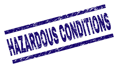 HAZARDOUS CONDITIONS seal print with distress style. Blue vector rubber print of HAZARDOUS CONDITIONS text with corroded texture. Text tag is placed between parallel lines.