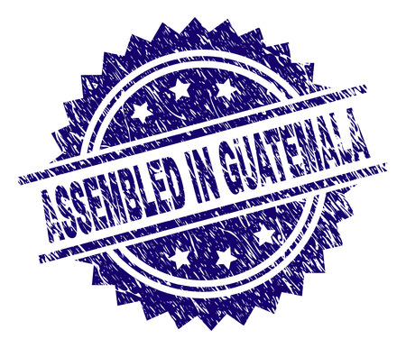 ASSEMBLED IN GUATEMALA stamp seal watermark with distress style. Blue vector rubber print of ASSEMBLED IN GUATEMALA tag with retro texture. Illustration