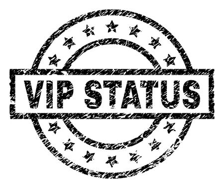 VIP STATUS stamp seal watermark with distress style. Designed with rectangle, circles and stars. Black vector rubber print of VIP STATUS caption with unclean texture. Çizim