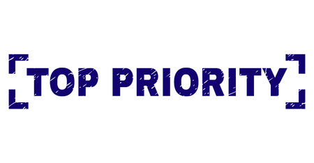TOP PRIORITY title seal print with corroded effect. Text title is placed between corners. Blue vector rubber print of TOP PRIORITY with retro texture. Illustration