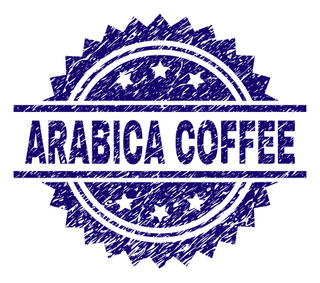 ARABICA COFFEE stamp seal watermark with distress style. Blue vector rubber print of ARABICA COFFEE title with dust texture.