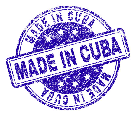 MADE IN CUBA stamp seal imprint with grunge texture. Designed with rounded rectangles and circles. Blue vector rubber print of MADE IN CUBA tag with grunge texture.