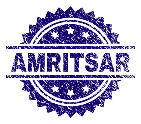 AMRITSAR stamp seal watermark with distress style. Blue vector rubber print of AMRITSAR caption with scratched texture.