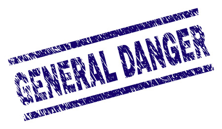 GENERAL DANGER seal print with scratced style. Blue vector rubber print of GENERAL DANGER text with grunge texture. Text caption is placed between parallel lines.