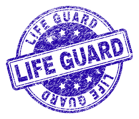 LIFE GUARD stamp seal imprint with grunge texture. Designed with rounded rectangles and circles. Blue vector rubber print of LIFE GUARD label with grunge texture. Illustration