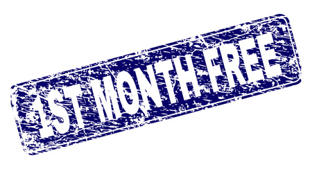 1ST MONTH FREE stamp seal print with distress style. Seal shape is a rounded rectangle with frame. Blue vector rubber print of 1ST MONTH FREE text with corroded style.