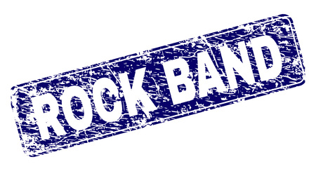 ROCK BAND stamp seal watermark with grunge style. Seal shape is a rounded rectangle with frame. Blue vector rubber print of ROCK BAND caption with grunge texture.