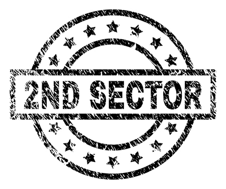 2ND SECTOR stamp seal watermark with distress style. Designed with rectangle, circles and stars. Black vector rubber print of 2ND SECTOR title with unclean texture.