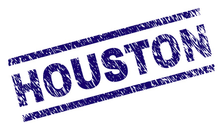 HOUSTON seal watermark with grunge style. Blue vector rubber print of HOUSTON text with grunge texture. Text tag is placed between parallel lines.